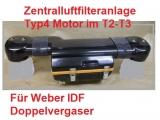 Zentralluftfilteranlage Bulli T2 und T3 für Weber Doppelvergaser